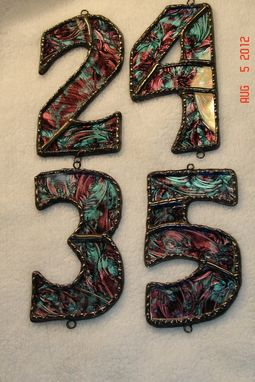 Custom Made Stained Glass House Numbers Sz 2x4 - Custom Orders