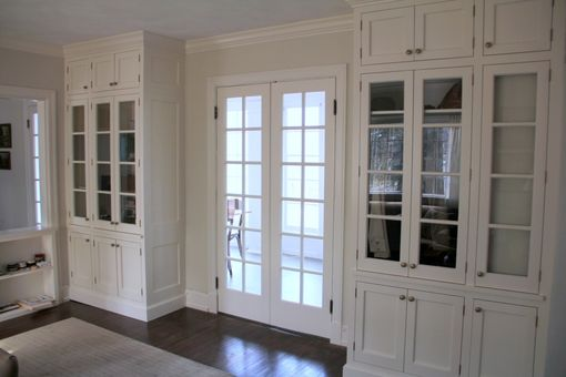 Custom Made Double French Doors And Matching Built-Ins
