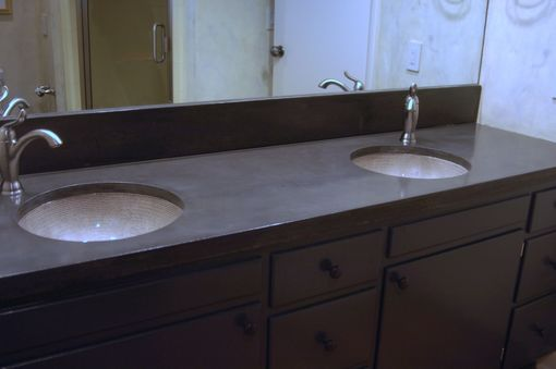 Custom Made Concrete Vanity Countertop With Matching Backsplash