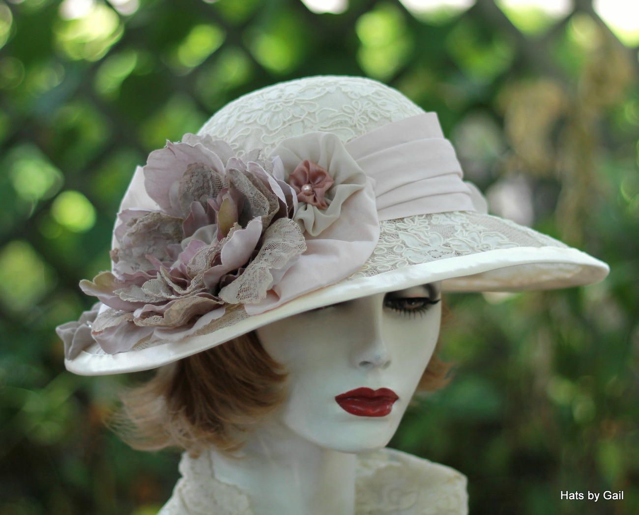 Hand Crafted Vintage Edwardian Wide Brim Hat In Ivory Lace