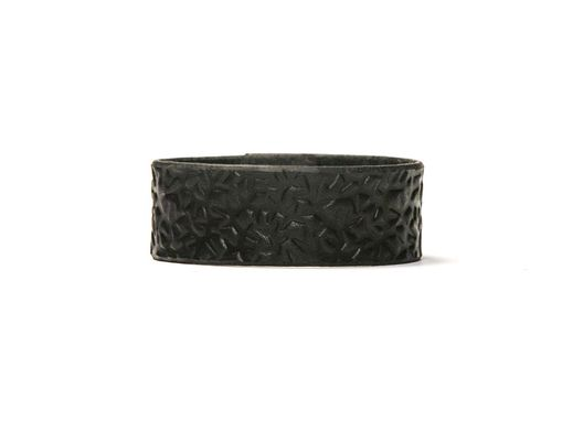 Custom Made Leather Cuff - Black Latigo - Embossed With Thorns - Ebony & Brass Fasteners - 1 Inch Wide