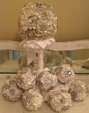 Custom Made Brooch Bouquets For The Bride & Bridesmaids