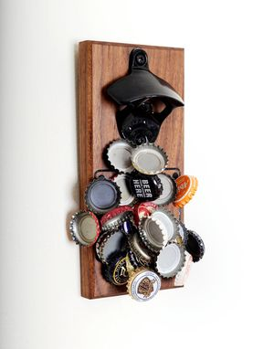 Custom Made Engraved Walnut Magnetic Bottle Opener