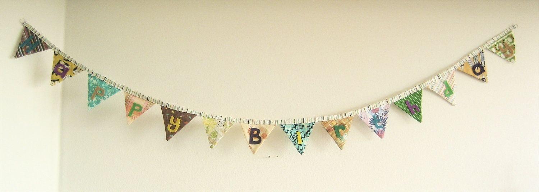 handmade custom happy birthday fabric bunting party decor cloth