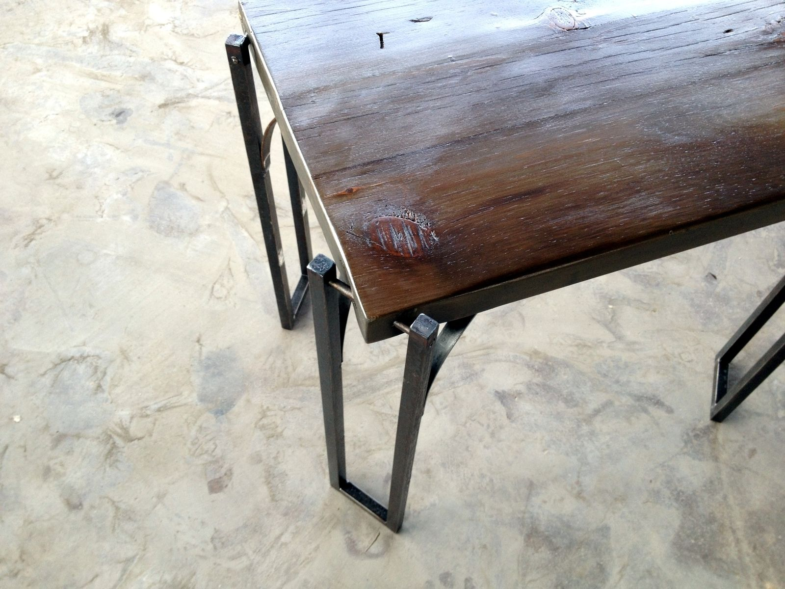 Custom Made Reclaimed Wood Coffee Table End Table With Solid Iron