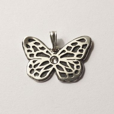 Custom Made Butterfly Pendant With Swarowski Crystal