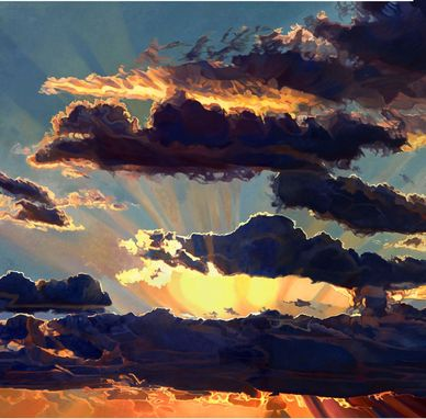 Custom Made Cloudscape Painting: Sunrise I
