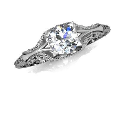 Custom Made Filigree Diamond Engagement Ring Vintage Solitaire Ring