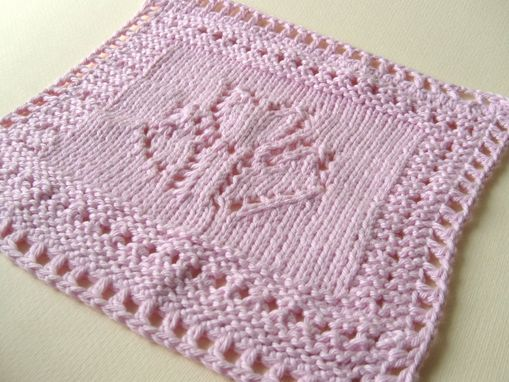 Custom Made Luxury Knit Wash Cloth/Hand Towel - Pretty Tulip Design In Pink