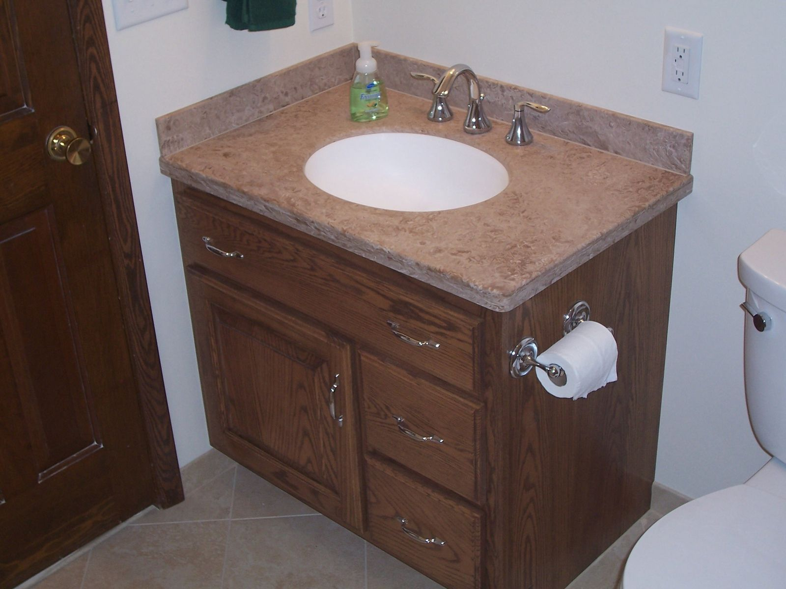 Handmade custom oak bathroom vanity and linen cabinet by jeffrey william construction inc - Custom made cabinet ...