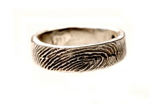 Custom Made Sterling Silver Ladies Or Mens Fingerprint Wedding Ring