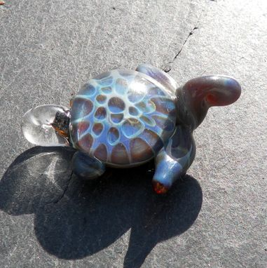 Custom Made Glass Sea Turtle Pendant Focal Boro Lampwork Hand Blown Honeycomb Bead Blue And Grey