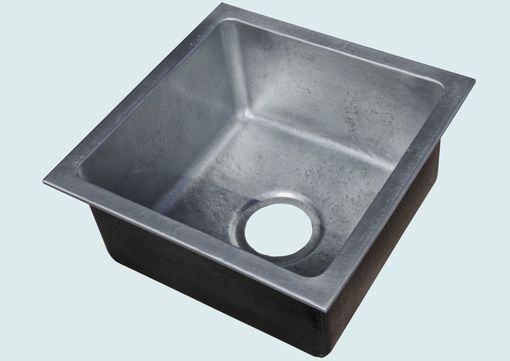 Custom Made Zinc Sink With Drop-In Rim & Hammering