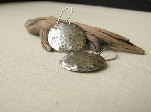 Custom Made Hammered Sterling Silver Disc Earrings.