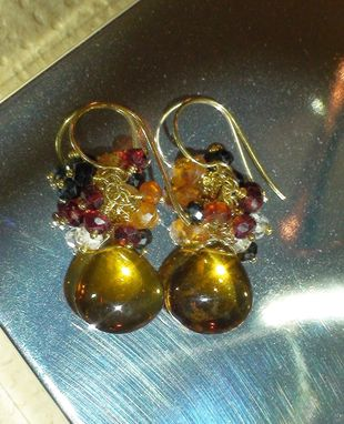 Custom Made Beer Quartz Teardrop Earrings