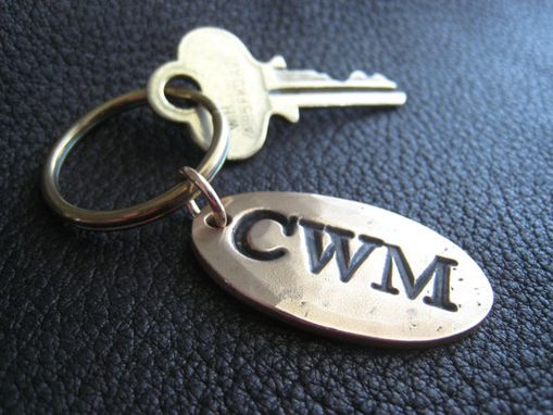 Custom Made Opulent Oval Personalized Key Chain Keychain In Hammered Solid Bronze Monogrammed