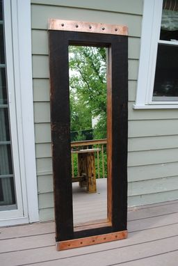 Custom Made Full Length Heart Pine Framed Mirror With Copper Ends
