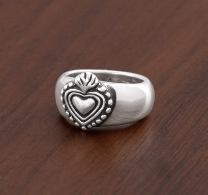 Custom Made New Milagro Heart Ring In Sterling Silver