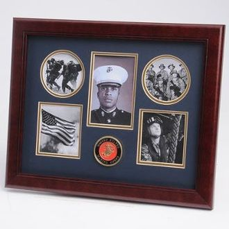 Custom Made U.S. Marine Corps Medallion 5 Picture Collage Frame