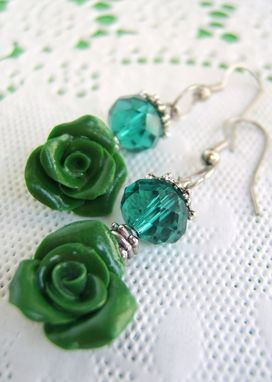 Custom Made Dark Green Crystal Earrings - Rose Hand-Crafted In Polymer Clay - Beautifully Packaged