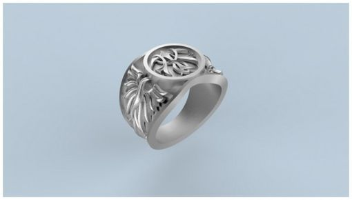 "Custom Made 14k White Gold ""Phoenix"" Signet Ring"