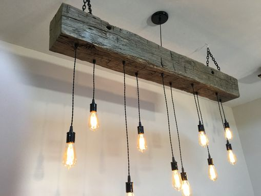 Buy a Custom Made Reclaimed Barn Beam Chandelier, made to ...