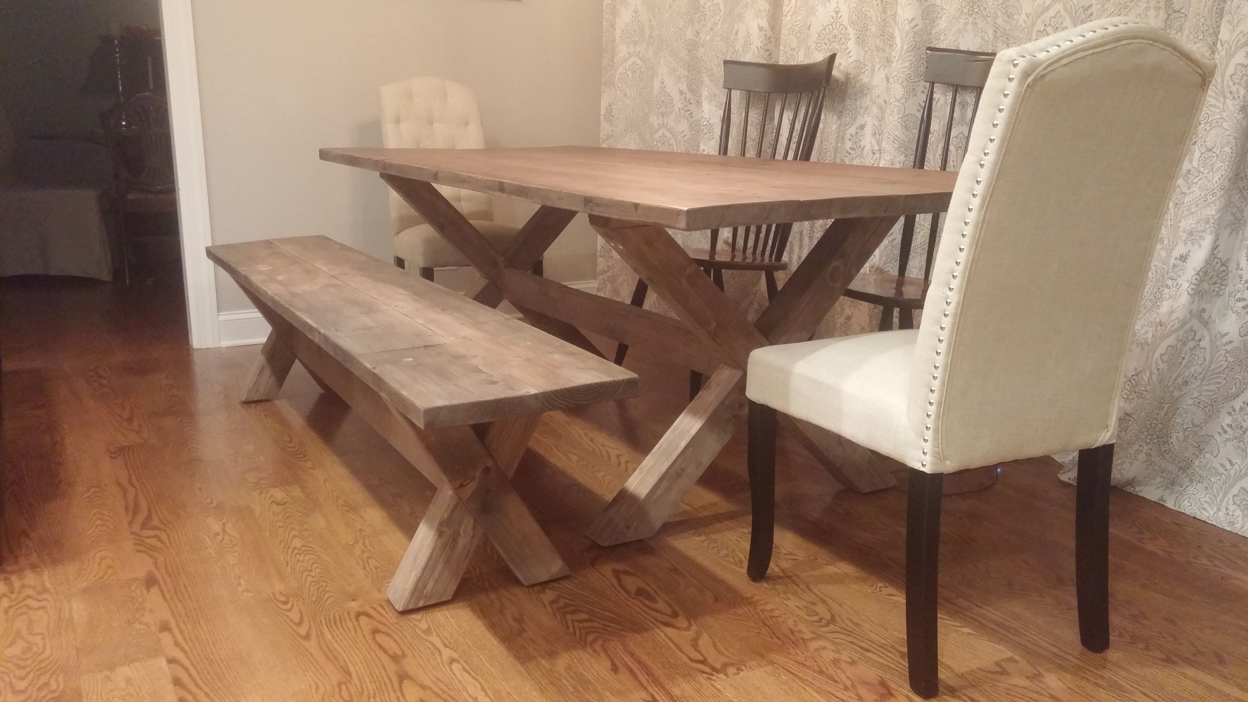 Custom made x base dining table reclaimed wood table x legs