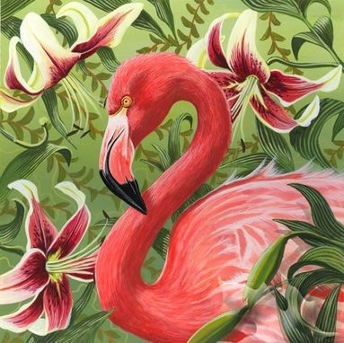 Custom Made Flamingo And Lilies