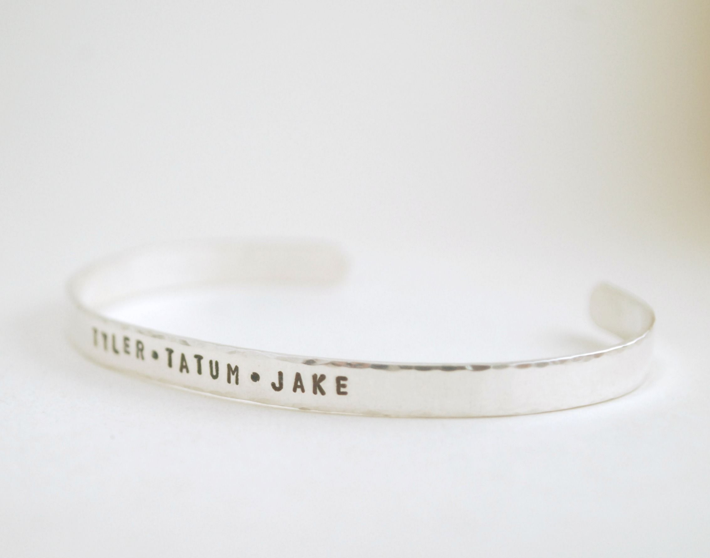 61cb04f7a10b Custom Made Personalized Silver Cuff Bracelets Hand Stamped With Custom  Names