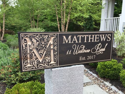 Custom Made Family Name Sign - Dark Stain Address Or Bride And Groom Names