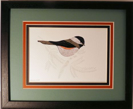 Custom Made Chickadees -  Quilled And Framed Wall Art New Hampshire Chickadees