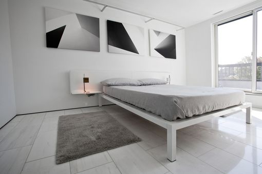 Custom Made Bespoke Minimal Leather And Steel Bed Frame