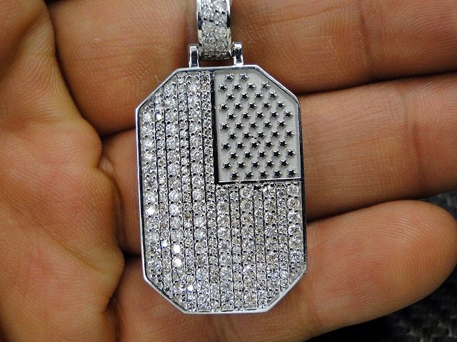 Buy a custom made usa american flag 14k white gold diamond pendant custom made usa american flag 14k white gold diamond pendant aloadofball