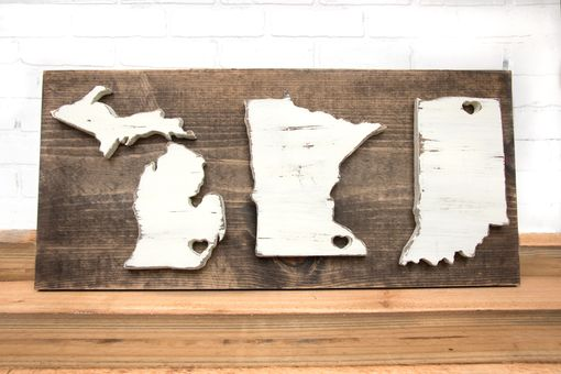 Custom Made Large Wood State Sign, 3 States - Custom State Sign - Home State Sign - Wall Art - Newlywed Gift