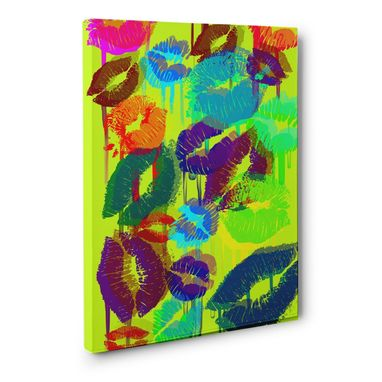 Custom Made Neon Lime Kisses Canvas Wall Art