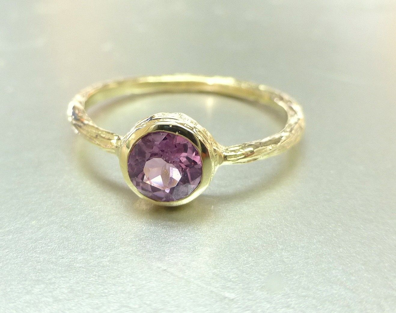 Custom Made Pink Spinel Ring Engagement Ring Or Stacking Ring 14k Gold