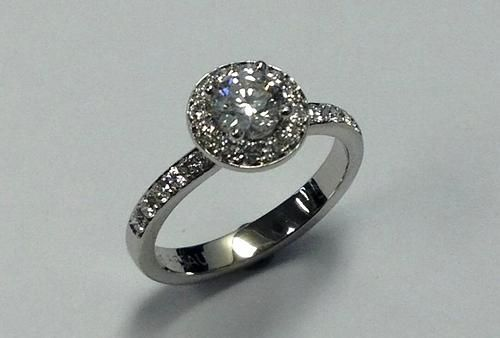 Custom Made Petite Halo Engagement Ring