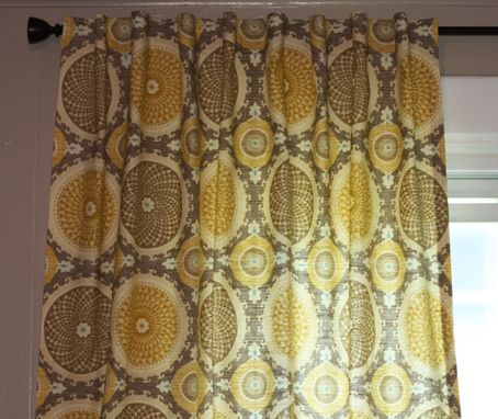 Custom Made Waverly Bohemian Swirl In Pumice Gray Yellow Grey Taupe Tan Linen Curtains 96l X 50w