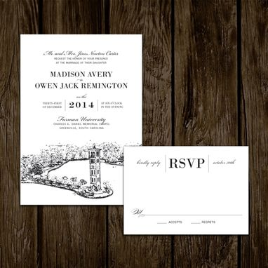 Custom Made Classic Black And White Wedding Invitations