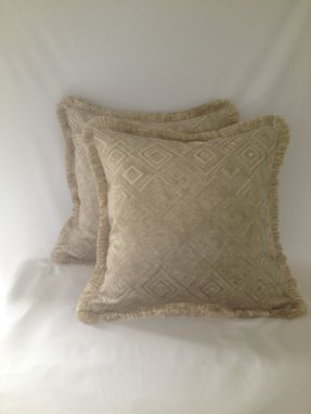 Custom Made Silky Velvet Tan With Geometric Pattern Pillow Cover