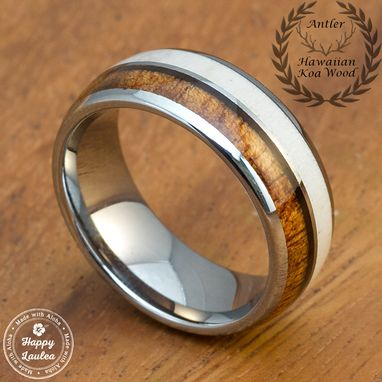 Custom Made Tungsten Carbide Ring With Genuine Antler And Hawaiian Koa Wood Inlay