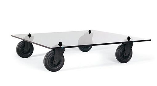 Custom Made Aulenti And Fontana Arte Inspired Glass Coffee Table With Industrial Casters