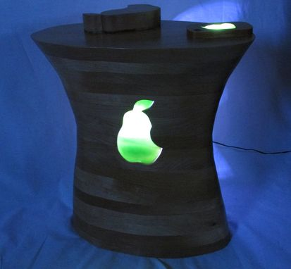 Custom Made Carved Alder End Table With Lights With Iphone Pear Clone, Lights Up!