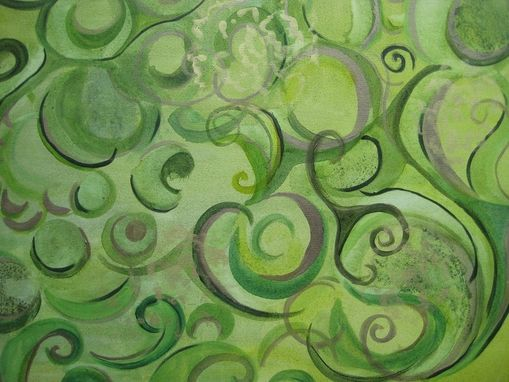 "Custom Made 25% Off Sale-Abstract Paisley Painting Original- 36""X36"" Greens Bronze Gold Brocade Painting"