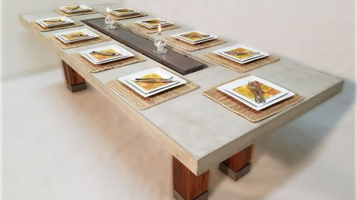 Custom Made Concrete Top Dining Table With Center Cutout And Teak Legs