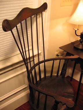 Custom Made Comb Back Windsor Chair W/ Engraved Scroll On Headrest