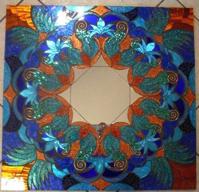 Custom Made Mosaic Mirror Blue And Copper Large Handmade Glitter Glass
