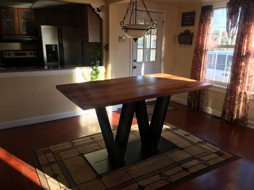 "Custom Made Reclaimed Wood Dining Table With Steel ""W"" Base"