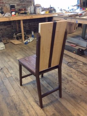 Custom Made Walnut And Curly Maple Dining Chairs