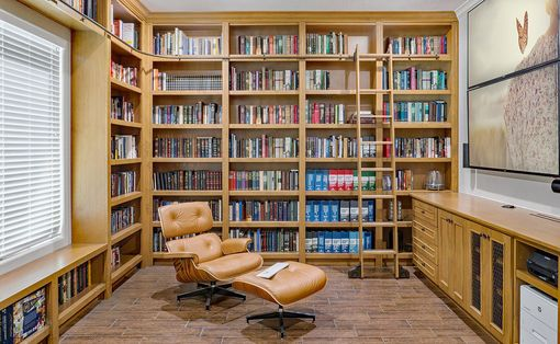 Custom Made Built-In Library With Rolling Ladder